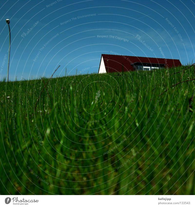 bausparvertragsnummer 0815 Himmel blau grün ruhig Haus Fenster Leben Wiese Architektur klein Lampe Wohnung Lifestyle Dach Coolness Rasen