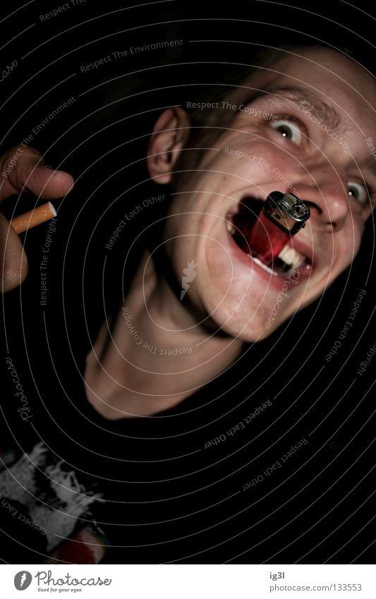 200 ! :) Chaos vor Freude Mensch lachen Erfolg verrückt Zähne Rauchen Zigarette grinsen drehen chaotisch Witz Wahnsinn Jubiläum