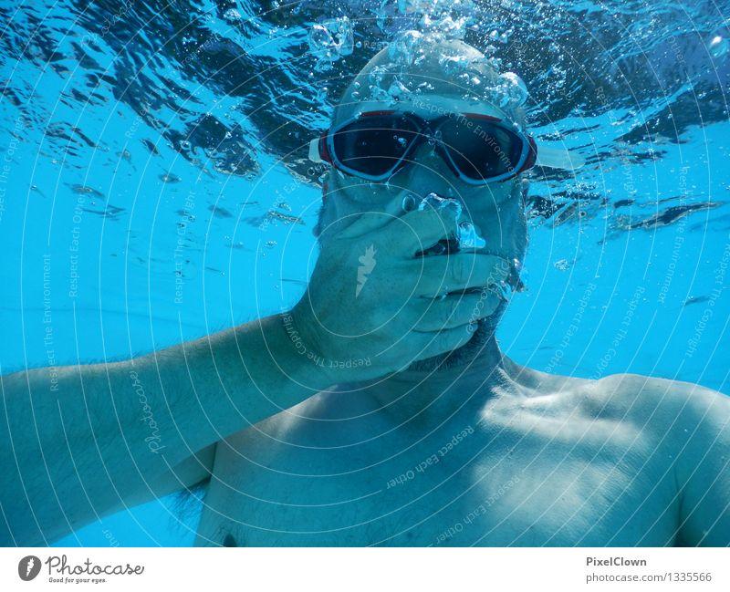 Panik Lifestyle Stil Gesundheit sportlich Wellness Schwimmbad Schwimmen & Baden Ferien & Urlaub & Reisen Sommerurlaub Meer Sport tauchen maskulin Körper 1