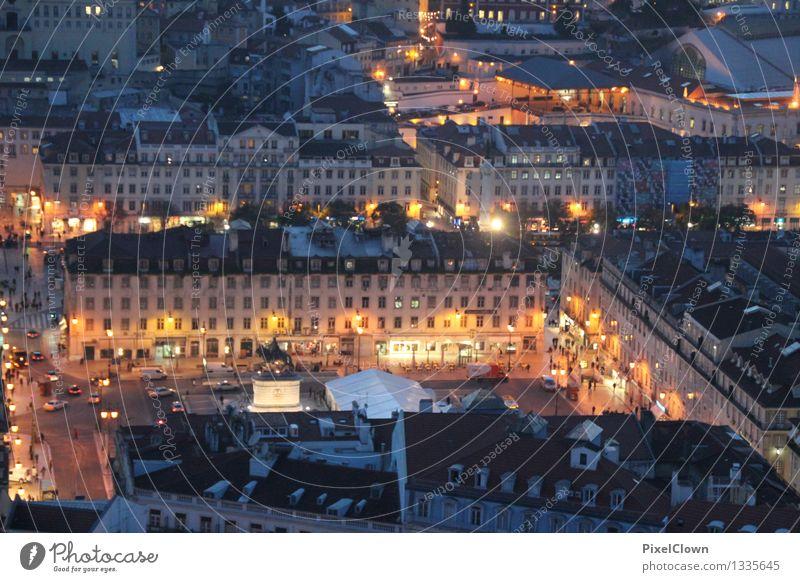 nächtliches Lissabon Ferien & Urlaub & Reisen Stadt schön Architektur Gebäude Feste & Feiern Lifestyle Stimmung orange Tourismus leuchten kaufen Bauwerk