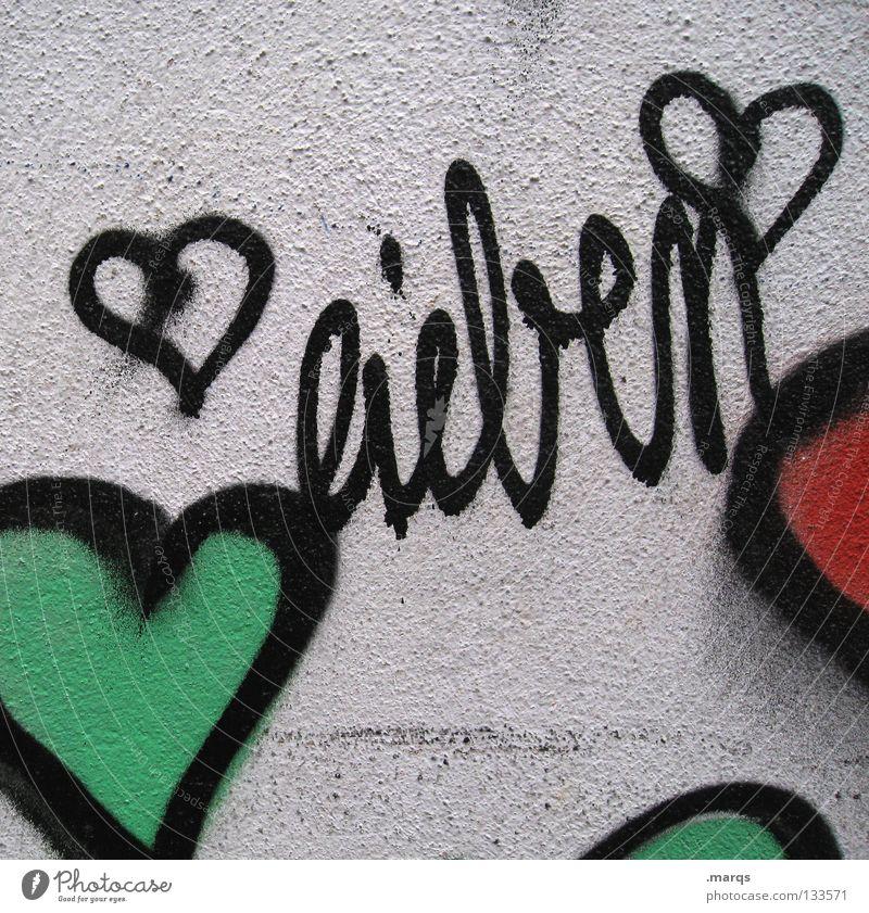 Sich einander grün Stadt rot schwarz Liebe Wand Graffiti Gefühle Glück Zusammensein dreckig Herz Schriftzeichen süß Buchstaben Romantik