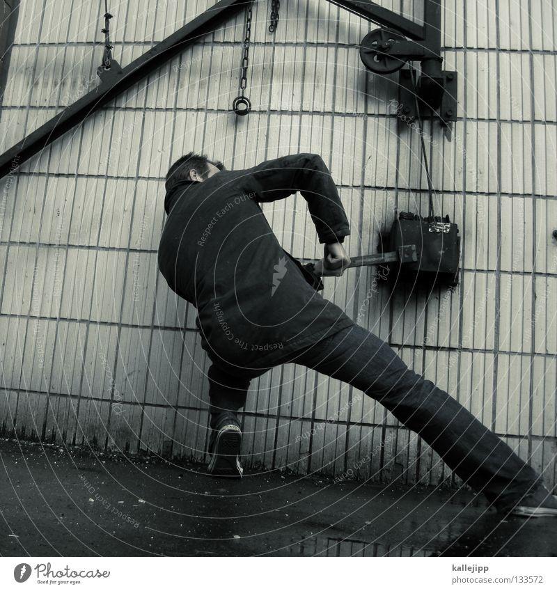 wochenanfang Montag Folter Kurbel Aufschwung Antrieb Maschine Mann Sadomasochismus Hebebühne Kraft Interpretation Mechanik Muskulatur Hebel Schalter Gastronomie