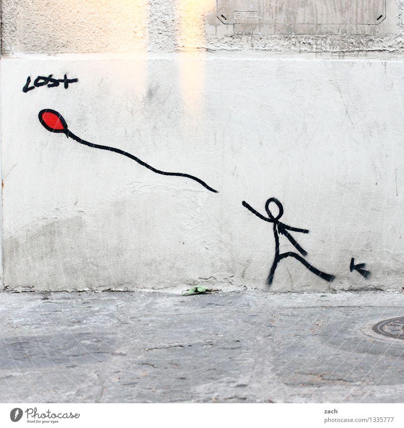 verloren Kind Kindheit 1 Mensch Stadt Mauer Wand Fassade Straße Spielzeug Luftballon Zeichen Schriftzeichen Ornament Graffiti Straßenkunst fangen fliegen