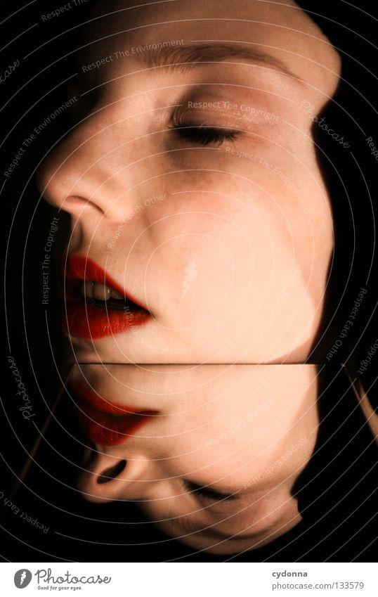Aufklappbar Frau Mensch schön Auge Farbe Leben Gefühle Stil Bewegung Denken träumen Erde Zeit Perspektive Ecke stehen