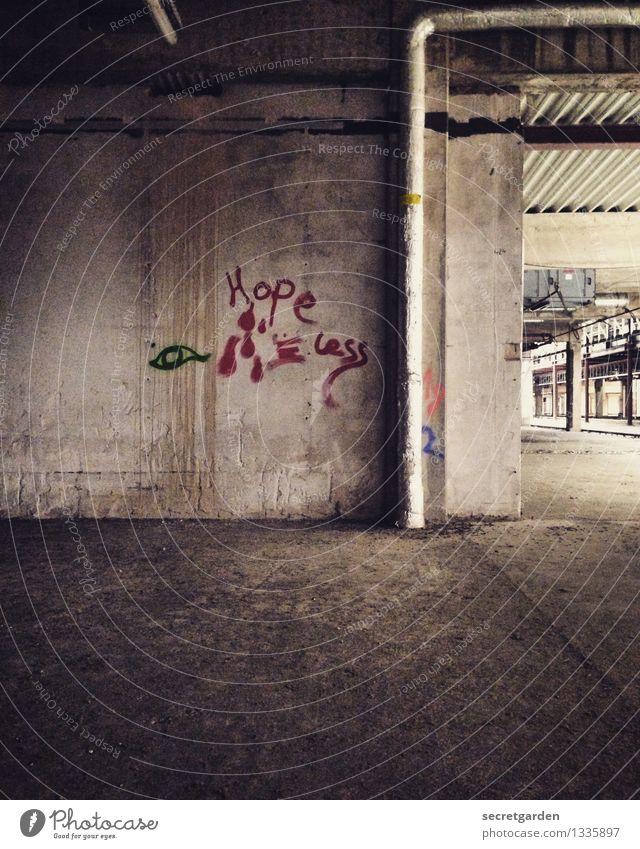 mit dem zweiten sieht man anders. rot dunkel kalt Architektur Wand Traurigkeit Graffiti Gebäude Mauer Kunst braun dreckig Beton Industriefotografie Bauwerk