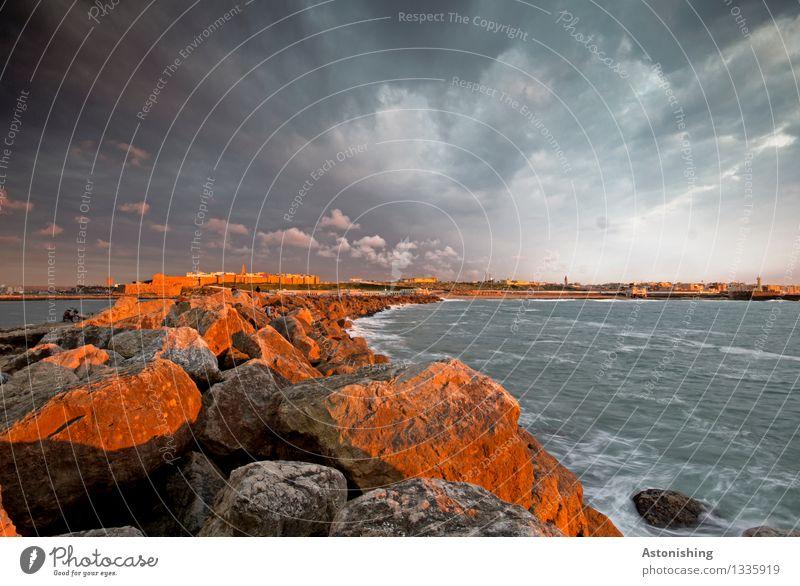 Rabat at sunset Umwelt Natur Landschaft Luft Wasser Himmel Wolken Gewitterwolken Nachthimmel Horizont Sonnenaufgang Sonnenuntergang Sonnenlicht Sommer Wetter