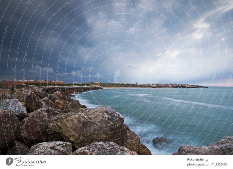 Rabat after sunset Umwelt Natur Landschaft Wasser Himmel Wolken Nachthimmel Horizont Sommer Wetter Felsen Wellen Küste Meer Atlantik Marokko Stadt Hauptstadt