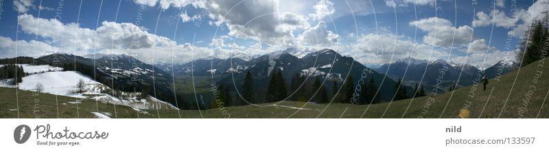 inntal-zillertal-180-grad Mensch Himmel Ferien & Urlaub & Reisen Wiese Berge u. Gebirge Landschaft wandern gehen groß Alpen Schönes Wetter Österreich Natur