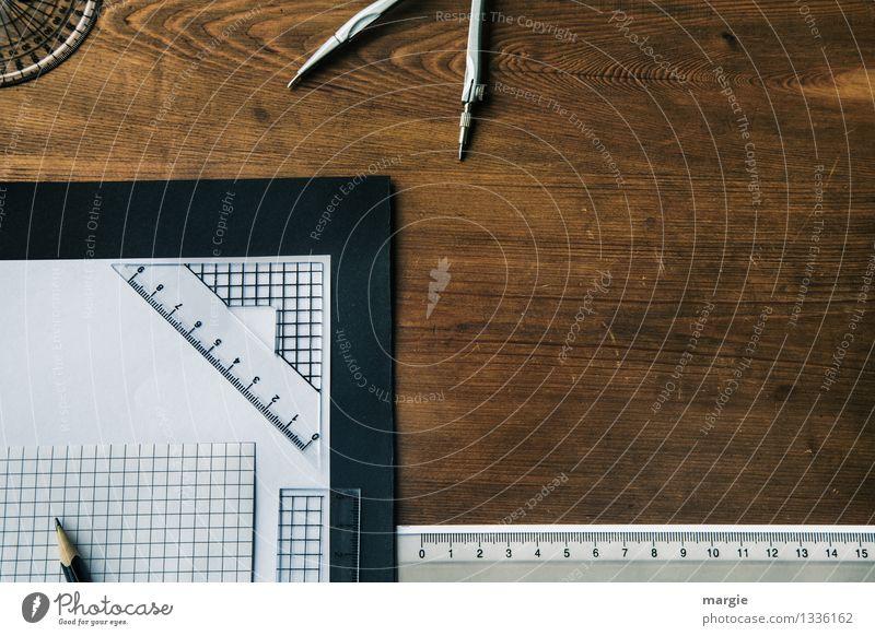 Schreibtisch kariert weiß Holz Schule braun Design Erfolg Beginn Technik & Technologie lernen Studium Papier Bildung schreiben Beruf Wissenschaften Schreibstift