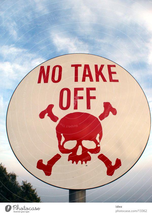 No take off Freizeit & Hobby Schilder & Markierungen Hinweisschild Warnhinweis Verbote Warnung Gleitschirmfliegen Schädel Lebensgefahr Verbotsschild