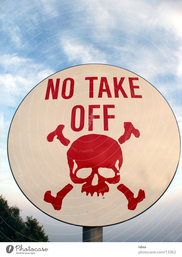 No take off Verbote Warnhinweis Gleitschirmfliegen Freizeit & Hobby no take off Schilder & Markierungen Schädel flugverbot Warnung Hinweisschild Verbotsschild
