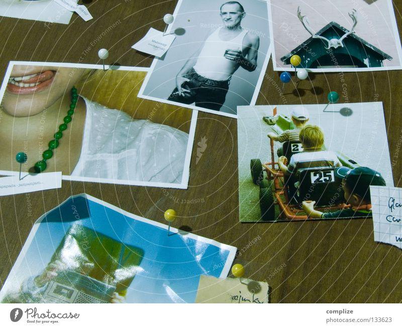 Die Fotos II Fotografie Finger Mann Student Holz Siebziger Jahre Stecknadel Reißzwecken Arbeit & Erwerbstätigkeit Frau Rocker Horn retro Medien Kunst Kultur