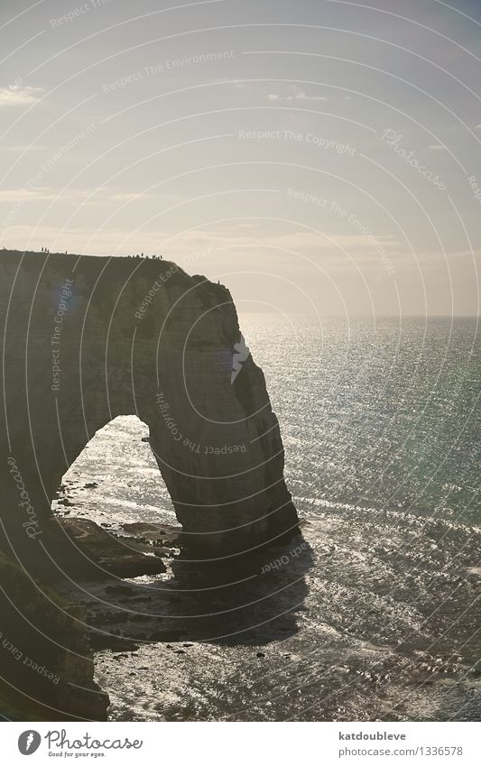 Étretat Wasser Sonnenlicht Schönes Wetter Felsen Schlucht Küste Bucht Meer Blick Ferne frei gigantisch groß maritim natürlich oben ruhig Sehnsucht Fernweh