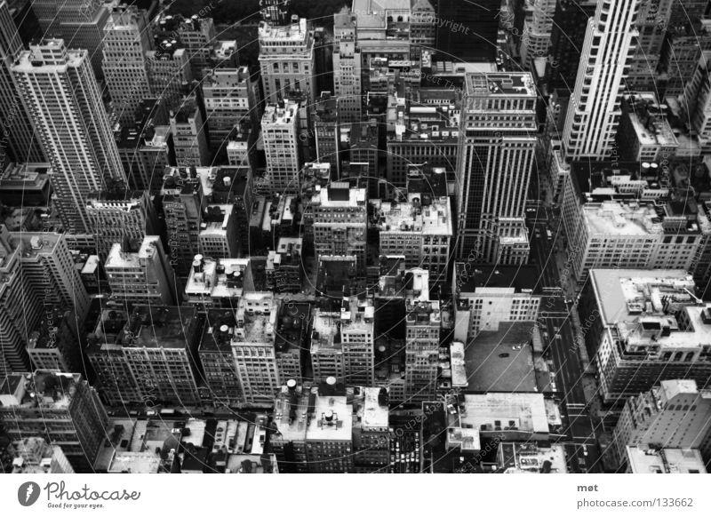 NYC Empire State Building New York State New York City Vogelperspektive Haus Hochhaus Stadt groß Stress Schwarzweißfoto oben