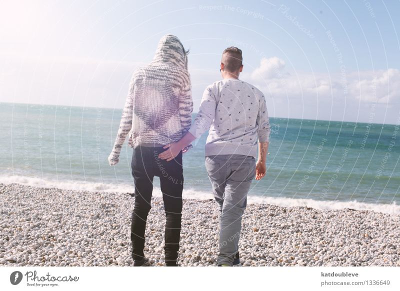 Come with me my love Mensch Ferien & Urlaub & Reisen Erholung Meer Strand Liebe Gefühle Bewegung feminin Küste Glück Freiheit Paar Zusammensein Freundschaft Freizeit & Hobby
