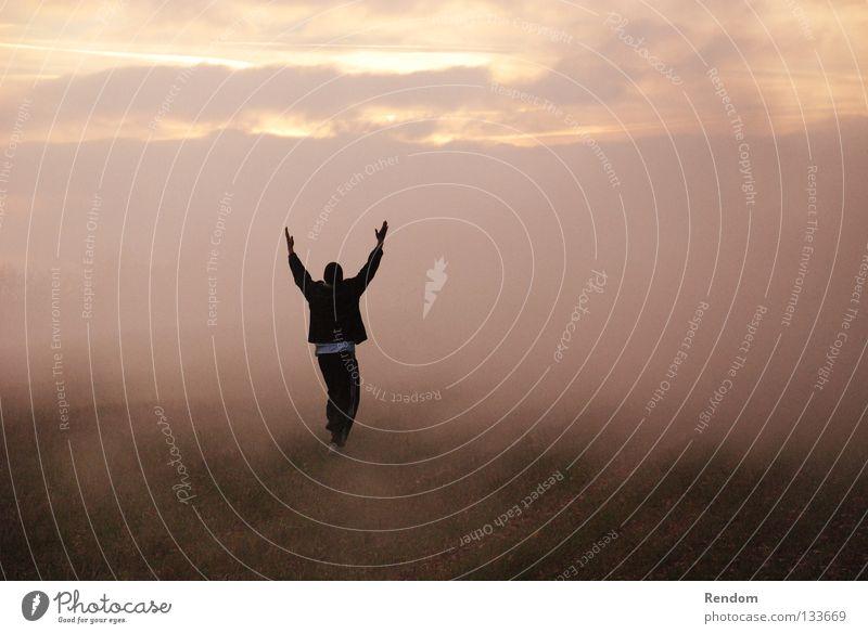 Kiss the Sky Himmel Natur Sonne rot Freude Wiese Freiheit Glück träumen Stimmung Nebel Erfolg frei Fröhlichkeit Stern Coolness