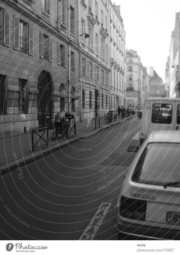 Inside Paris 3 Gasse Haus Seitenstreifen Europa Straße Schwarzweißfoto