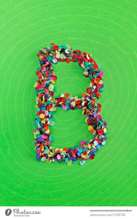 B Kunst Kunstwerk ästhetisch Buchstaben grün giftgrün alphabetisch Typographie Schriftzeichen Konfetti Kreativität Spielen Design mehrfarbig Farbfoto