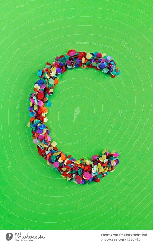 C Kunst Kunstwerk ästhetisch Buchstaben Typographie alphabetisch giftgrün Konfetti viele Mosaik mehrfarbig Farbfoto Innenaufnahme Experiment abstrakt Muster