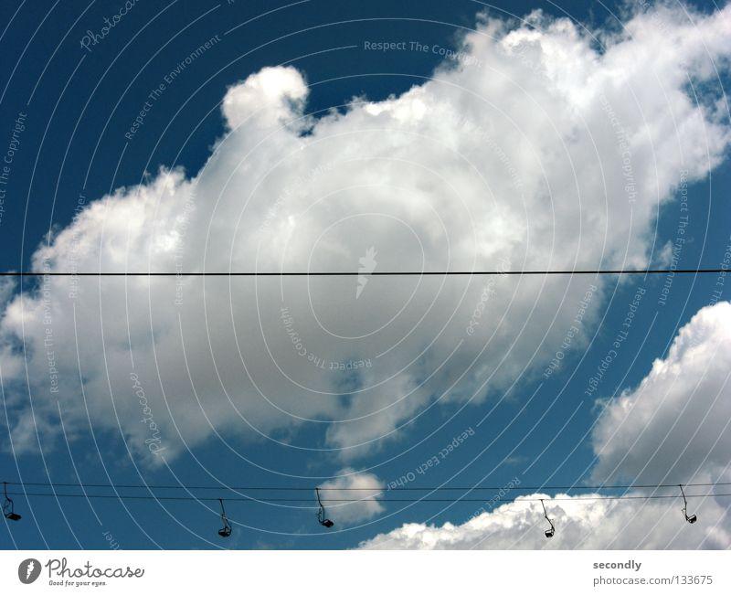 alltagstrab Himmel Wolken Linie leer horizontal Sesselbahn Alltagsfotografie Wolkenbild