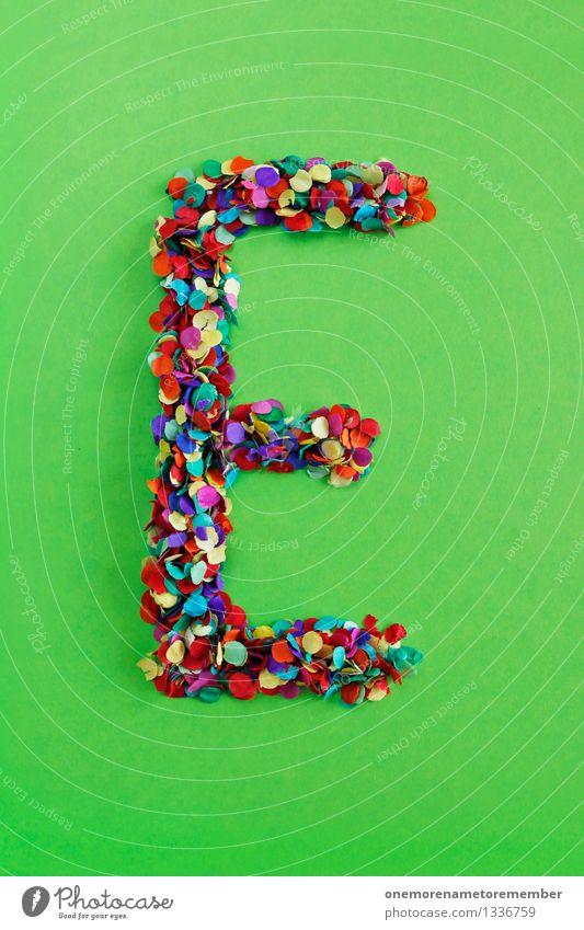 E Kunst Kunstwerk ästhetisch Buchstaben Typographie alphabetisch giftgrün Konfetti viele Mosaik Design Kreativität Idee Farbfoto mehrfarbig Innenaufnahme