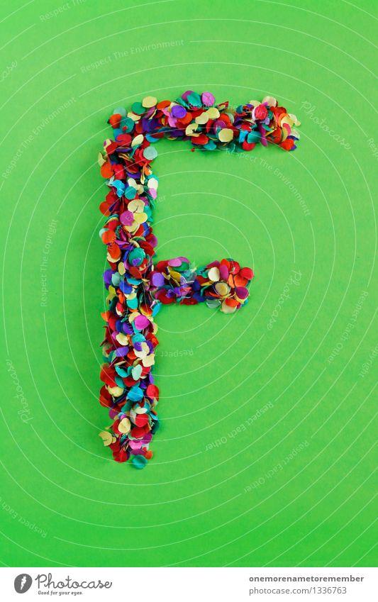 F Kunst Design ästhetisch Kreativität Idee Buchstaben Punkt viele Typographie Kunstwerk Konfetti Mosaik Lateinisches Alphabet grasgrün