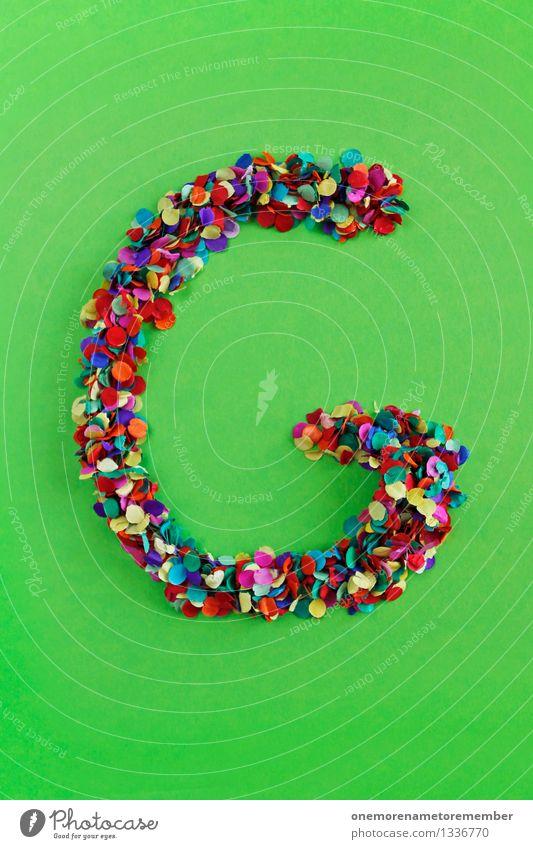G Kunst ästhetisch Buchstaben Typographie alphabetisch Konfetti viele Punkt Mosaik giftgrün Kreativität Design Farbfoto mehrfarbig Innenaufnahme Experiment