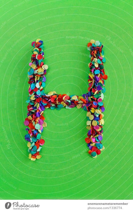 H Kunst Kunstwerk ästhetisch Buchstaben Typographie alphabetisch Schriftzeichen Konfetti Kreativität Design gebastelt viele Punkt Mosaik Farbfoto mehrfarbig