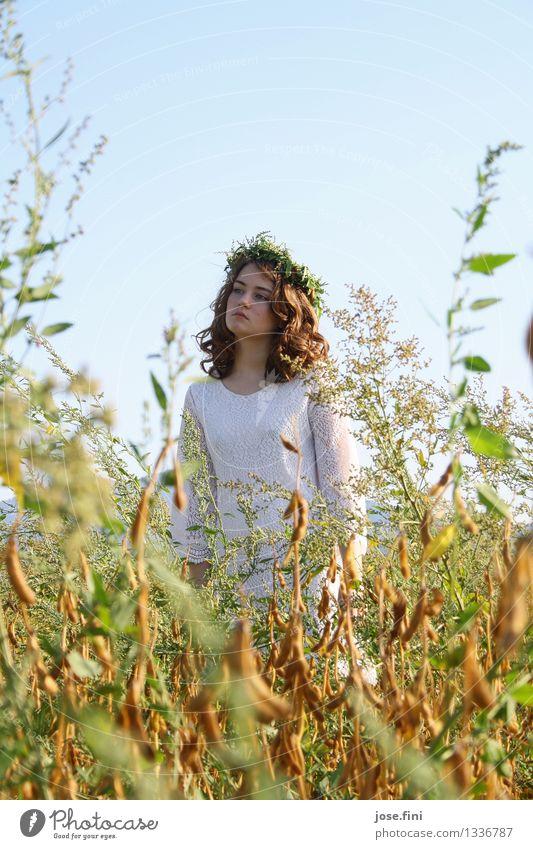 Wiesenkönigin schön Schulkind feminin Mädchen 13-18 Jahre Jugendliche Landschaft Himmel Wolkenloser Himmel Sommer Schönes Wetter Pflanze Feld Kranz