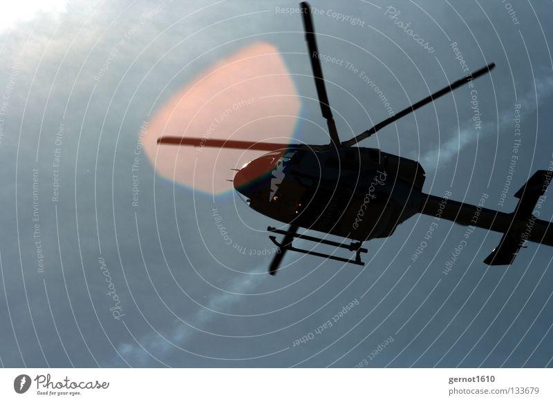 Action Hubschrauber Überwachung Aktion Gegenlicht Luft tief Flucht verfolgen Fluggerät Öffentlicher Dienst Macht Luftverkehr Heli Schraubhuber Einsatz