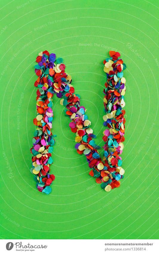 N Kunst Kunstwerk ästhetisch Netzwerk Konfetti Kreativität Design Buchstaben Typographie alphabetisch giftgrün viele mehrfarbig Farbfoto Innenaufnahme