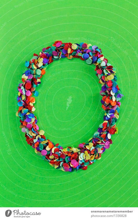 O Kunst ästhetisch o Buchstaben Typographie Lateinisches Alphabet grün knallig giftgrün Konfetti viele Punkt Mosaik Partikel Design Kreativität Farbfoto