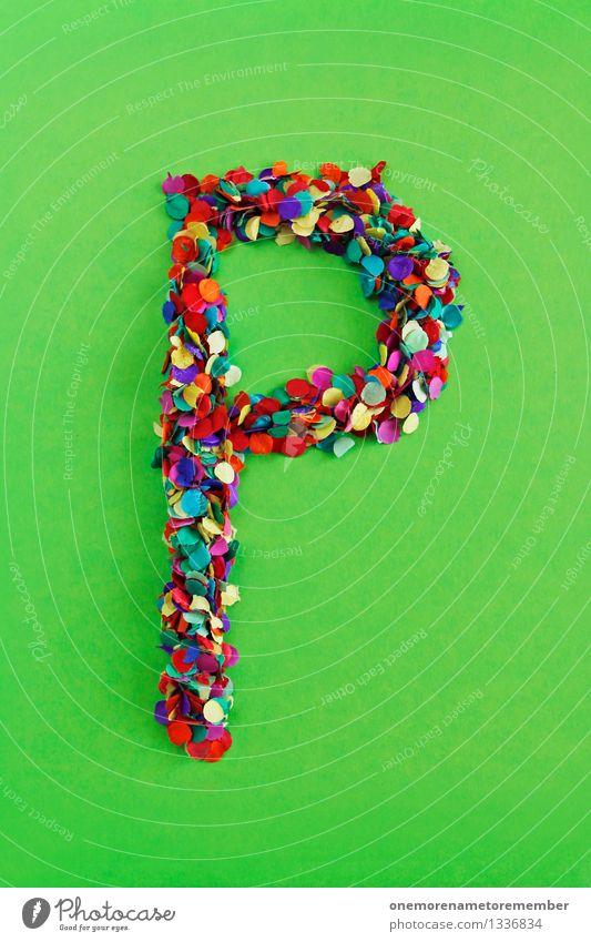 P Kunst Kunstwerk ästhetisch Buchstaben Typographie Lateinisches Alphabet Konfetti viele Punkt Mosaik giftgrün Kreativität Design Farbfoto mehrfarbig