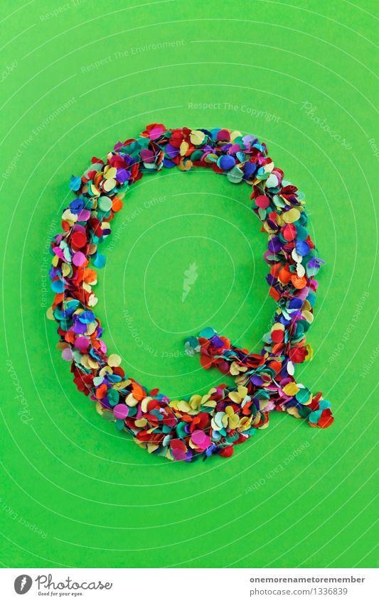 Q Kunst Kunstwerk ästhetisch Qualität Qualle quer Buchstaben Griechisches Alphabet Konfetti Kreativität Design viele Punkt mehrfarbig Farbfoto Innenaufnahme