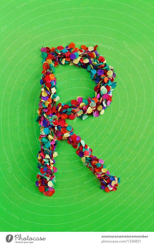 R Kunst Kunstwerk ästhetisch Buchstaben Typographie Lateinisches Alphabet grün giftgrün Konfetti Design Kreativität viele mehrfarbig Mosaik Farbfoto