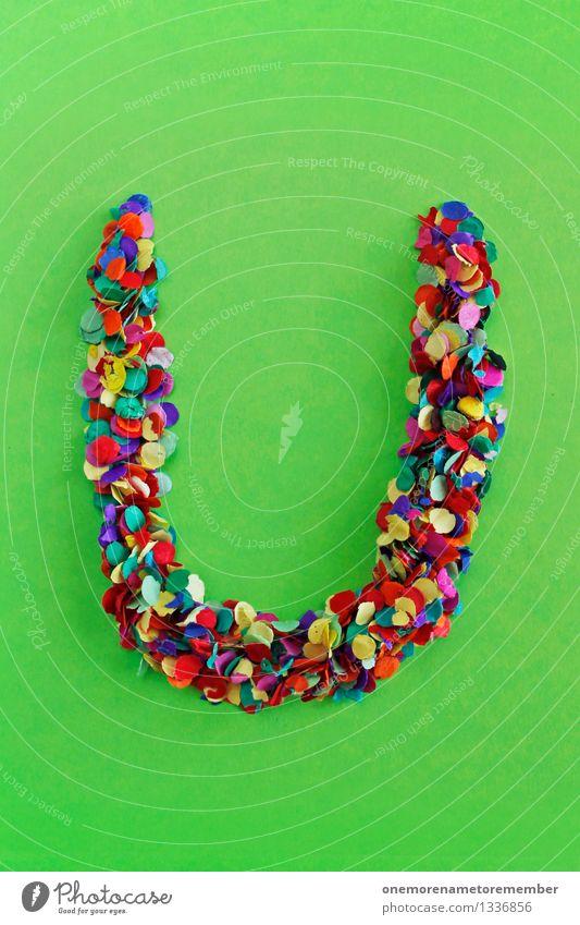 U Kunst Kunstwerk ästhetisch Buchstaben Konfetti alphabetisch viele Mosaik gebastelt giftgrün knallig Kreativität Design Farbfoto mehrfarbig Innenaufnahme