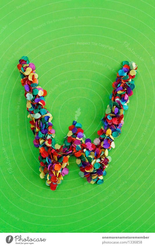 W Kunst ästhetisch Buchstaben Typographie Lateinisches Alphabet Konfetti giftgrün Kreativität Design Farbfoto mehrfarbig Innenaufnahme Detailaufnahme Experiment