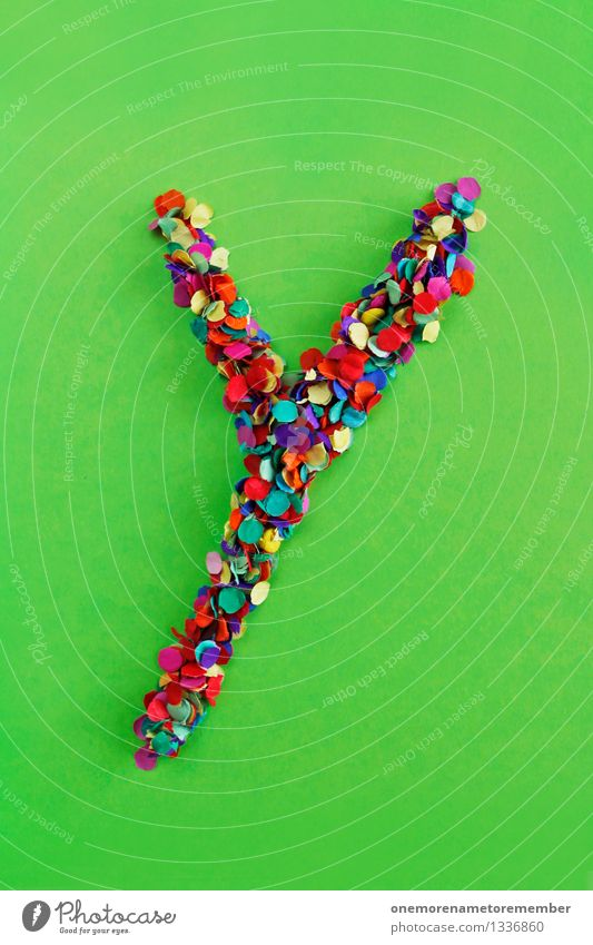 Y Kunst Kunstwerk ästhetisch Buchstaben Typographie alphabetisch Konfetti viele Punkt Mosaik mehrfarbig giftgrün Design Kreativität Farbfoto Innenaufnahme