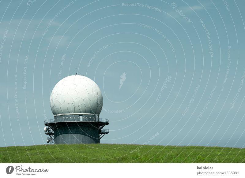 Big Brother blau grün Feld Technik & Technologie Telekommunikation bedrohlich hören Informationstechnologie Kuppeldach Überwachung spionieren Militär
