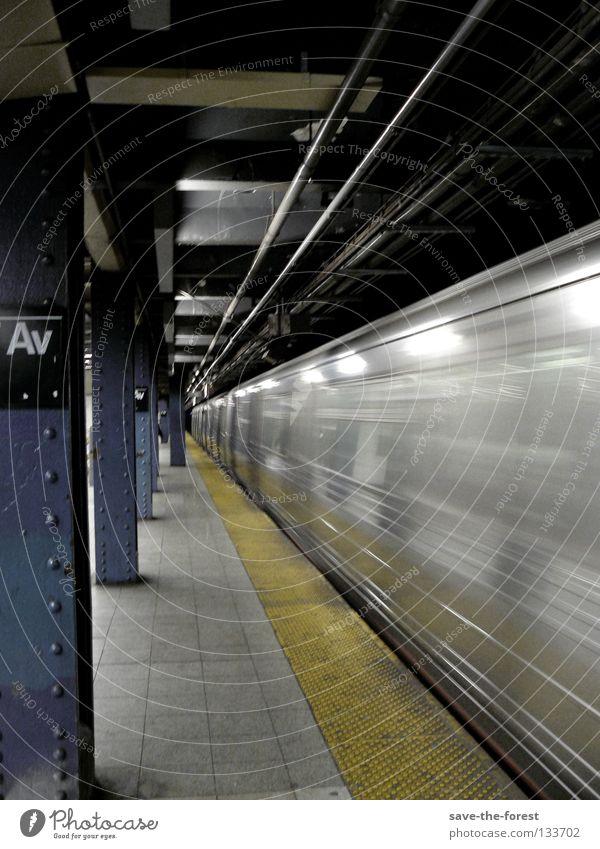 motion New York City U-Bahn Eisenbahn Geschwindigkeit Bahnhof Bewegung USA