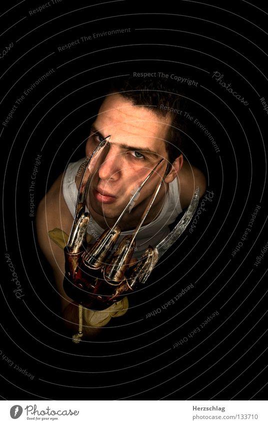 Freddy Porträt Mörder Reflexion & Spiegelung schwarz Kino gruselig Angst Panik Stefan Franke Black_Head Schere Blut Filmindustrie Schrecken Spitze Haut Nase Ohr