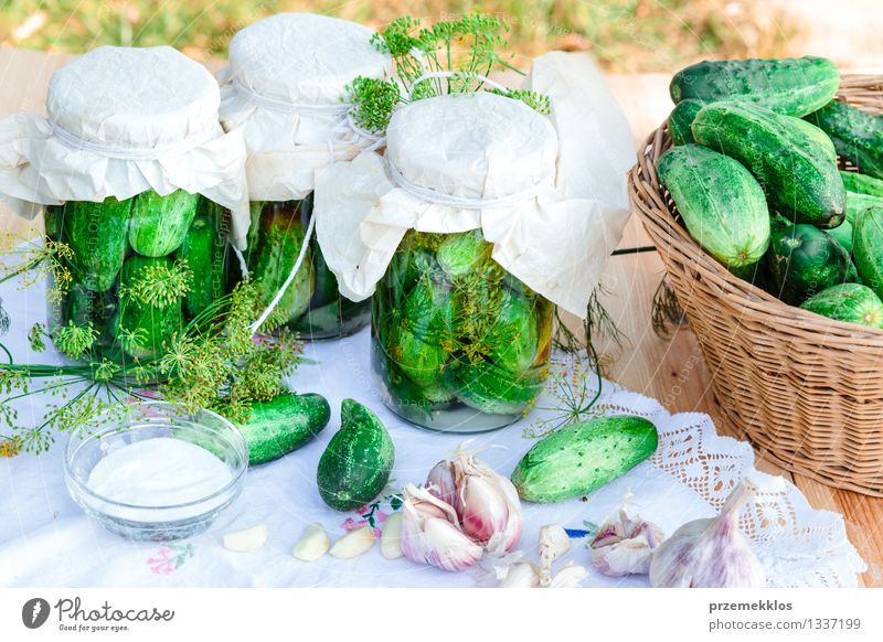 Eingelegte Gurken, die vom Hausgartengemüse und -kräutern gemacht werden Gemüse Kräuter & Gewürze Bioprodukte Garten Sommer frisch natürlich grün Korb