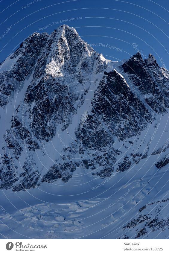 Großglockner Österreich Gipfel Winter Hochgebirge Berge u. Gebirge schön Schnee Felsen Blauer Himmel Steilwand Schneebedeckte Gipfel steil