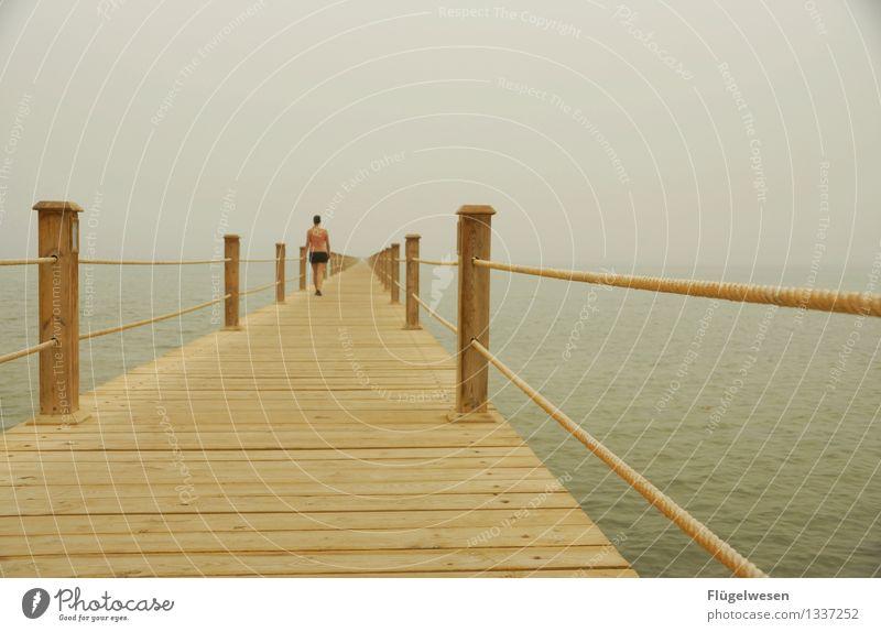 dieser Steg wird holzig und schwer Ferien & Urlaub & Reisen Meer Ferne Strand Küste Freiheit Schwimmen & Baden gehen Tourismus Nebel Wellen Ausflug Klima Brücke