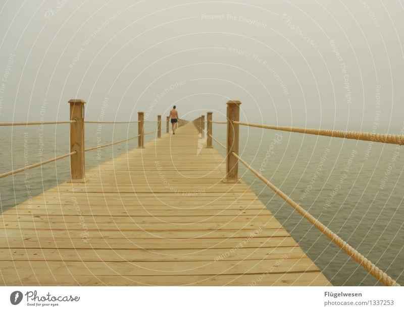 Dieser Steg wird ein langer sein Ferien & Urlaub & Reisen Tourismus Ausflug Abenteuer Ferne Freiheit Unwetter Wind Nebel Wellen Küste Strand Bucht Fjord Riff