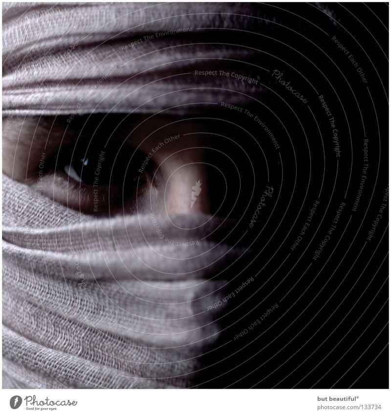 gefangen° verdeckt geheimnisvoll dunkel Kopftuch Krimineller gefährlich Porträt Wut Ärger Angst Panik verpackt Eingewickelt Alchimist bedrohlich