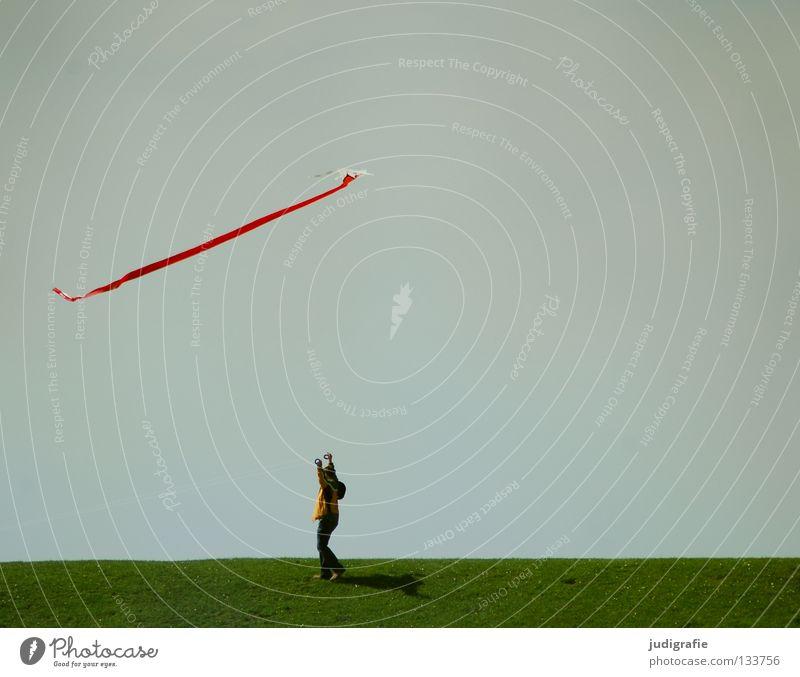 Wochenendfreiluftaktivität Mensch Himmel Natur grün Ferien & Urlaub & Reisen Freude Farbe Spielen Gras Bewegung Wind fliegen laufen Luftverkehr stehen Hügel