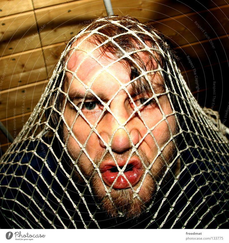 Internetz Jugendliche Gesicht Auge Spielen Holz Mund lustig Nase verrückt Coolness Zähne Netz Tor Quadrat Bart trashig