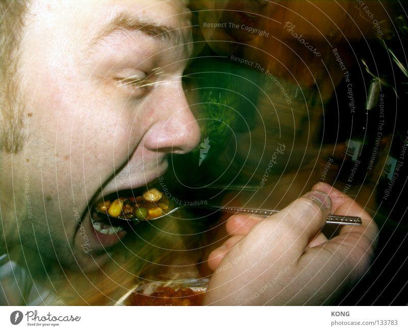 timmey con carne Mann Essen Mund Ernährung rein Appetit & Hunger Abendessen Fressen Fleisch Mahlzeit füttern Löffel Fastfood Besteck Gemüse Suppe