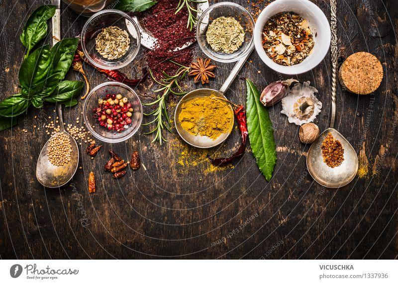 Bunte Gewürzen und Kräuter Auswahl fürs Kochen Gesunde Ernährung gelb Leben Stil Hintergrundbild Lebensmittel Design Tisch Kräuter & Gewürze Küche Bioprodukte